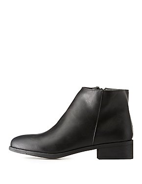 Bamboo Faux Leather Ankle Booties