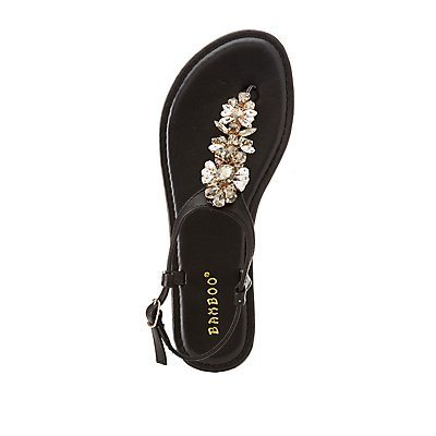 Rhinestone Embellished T-Strap Sandals