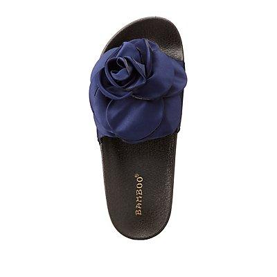 Bamboo Satin Flower Slide Sandals