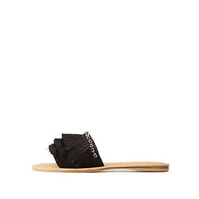 Bamboo Fringe & Crystal Embellished Slide Sandals