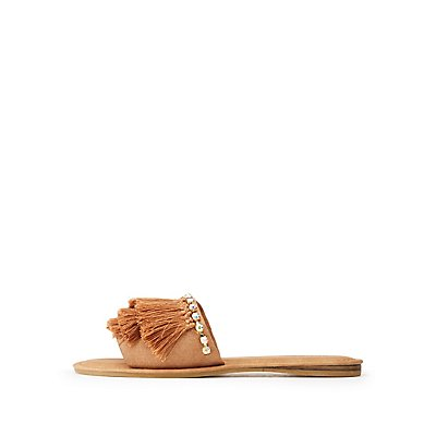 Bamboo Fringe & Crystal Embellished Slide Sandals