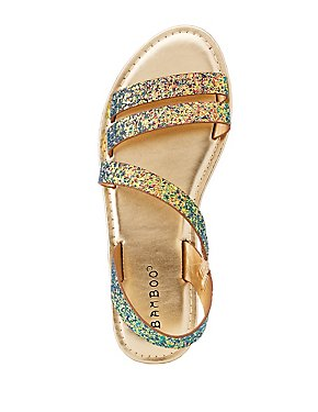 Bamboo Glitter Caged Sandals