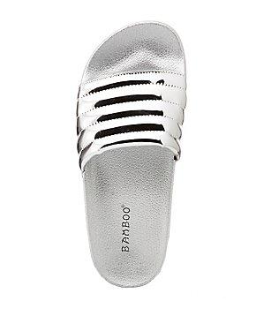 Bamboo Metallic Puffer Stripe Slide Sandals
