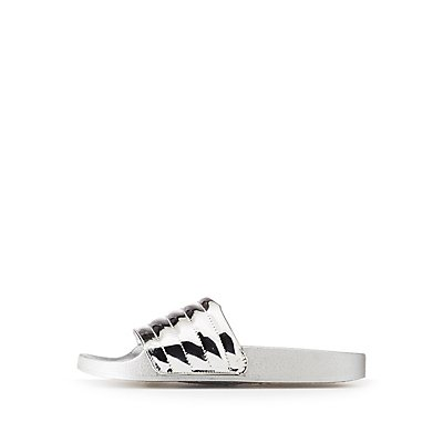 Bamboo Metallic Puffer Stripe Slide Sandals