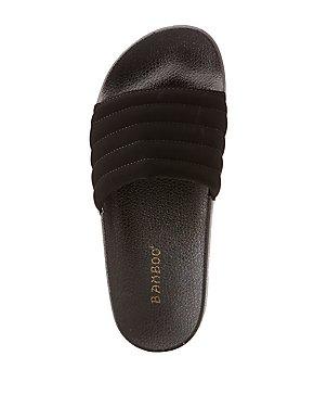 Bamboo Puffer Stripe Slide Sandals
