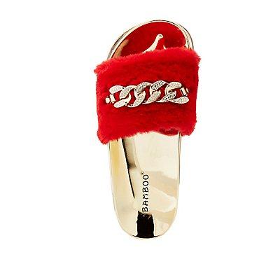 Bamboo Faux Fur Chainlink Slide Sandals