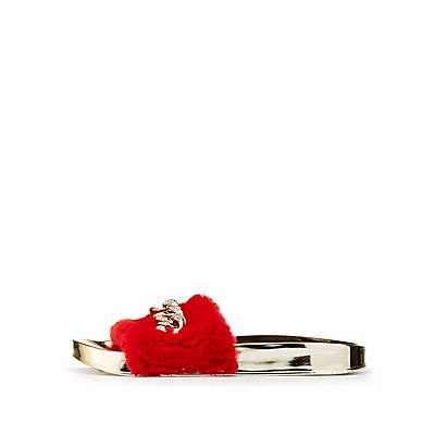 Bamboo Faux Fur Chainlink Slide Sandals