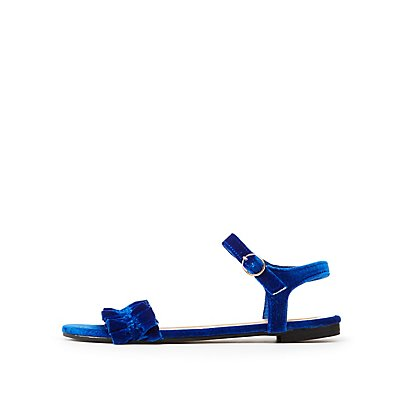 Bamboo Velvet Ruffle Ankle Strap Sandals