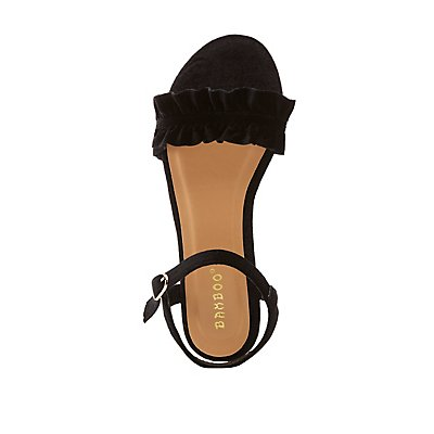 Bamboo Velvet Ruffle Two-Piece Sandals