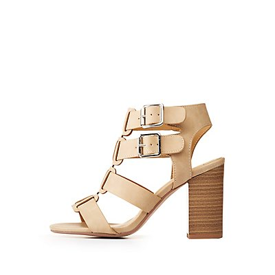 Faux Leather Buckle Sandals