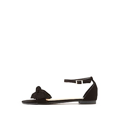 Bamboo Faux Suede Two-Piece Bow Sandals