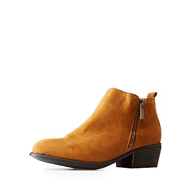 Bamboo Side-Zip Chunky Heel Booties