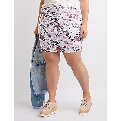 Plus Size Paisley Mini Skirt