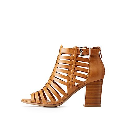 Open Toe Caged Sandals by Charlotte Russe