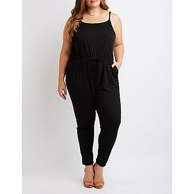 Plus Size Sleeveless Tie-Waist Jumpsuit