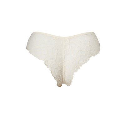 Plus Size Floral Lace-Back Cheeky Panties