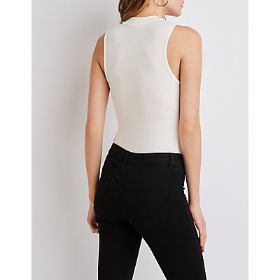 Ribbed Knit Mock Neck Bodysuit