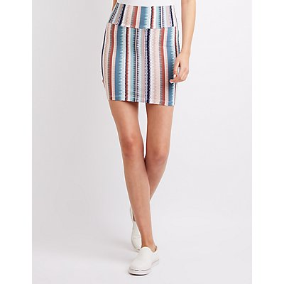 Geometric Foldover Mini Skirt