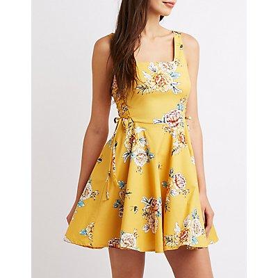 Floral Lace-Up Dress