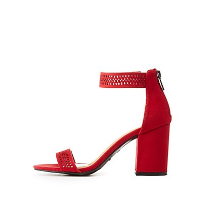 Bamboo Perforated Ankle Strap Sandals