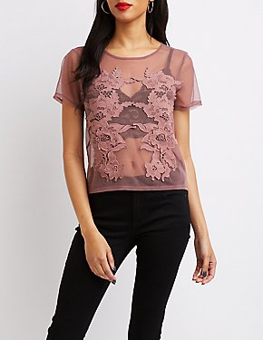 Floral Embroidered Mesh Tee
