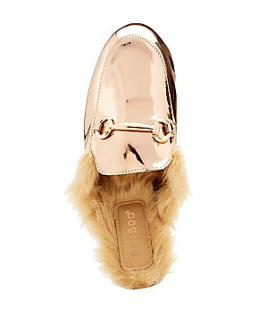 Bamboo Faux Fur Lined Metallic Slip-On Flats