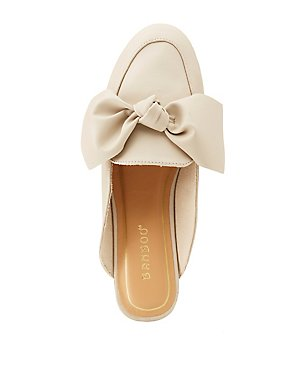 Bamboo Faux Leather Bow Slip-On Flats