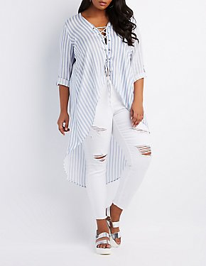 Plus Size Stripped Lace-Up High-Low Tunic Top