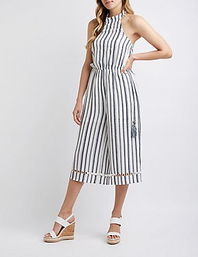 Striped Wide Leg Halter Jumpsuit