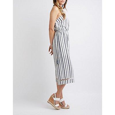 Striped Wide Leg Halter Jumpsuit