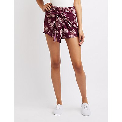 Floral Tie-Front Shorts