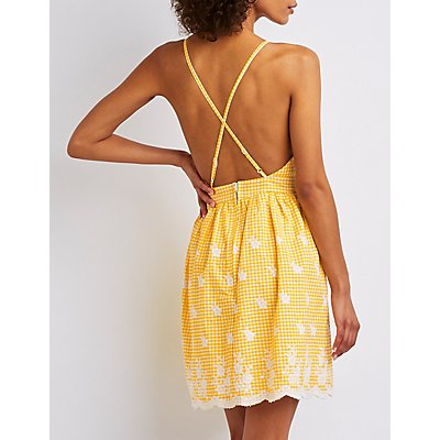 Strappy Tie Front Skater Dress