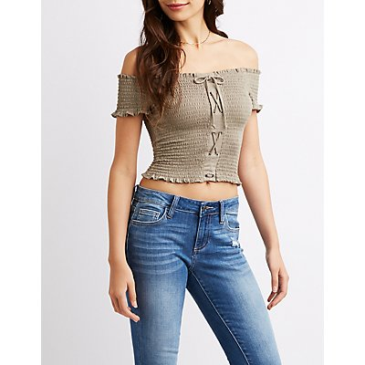Lace-Up Smocked Off-The-Shoulder Crop Top