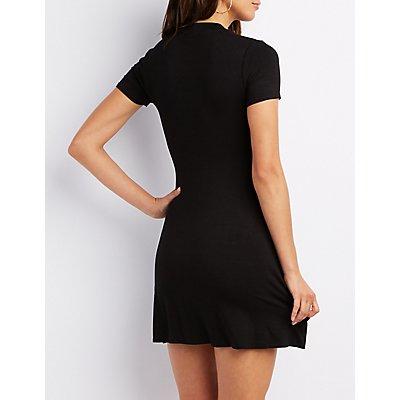 Mock Neck Lattice Dress