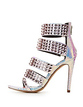 Holographic Faux Croc Studded Sandals