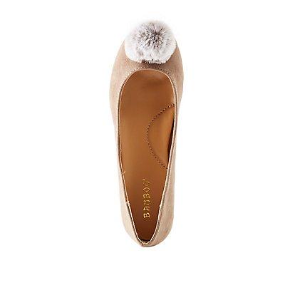 Bamboo Pom Pom Pointed Toe Ballet Flats
