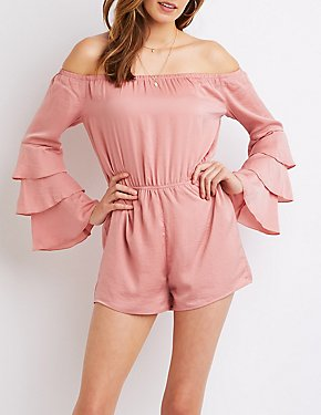 Satin Tiered-Sleeve Romper