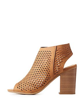 Laser Cut Peep Toe Slingback Sandals