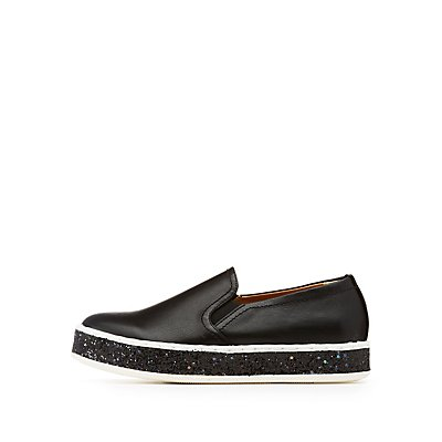 Glitter-Trim Slip-On Sneakers