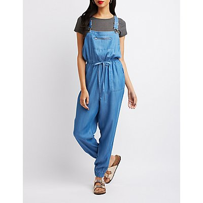 Chambray Tie-Waist Overalls