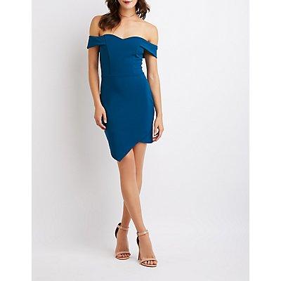 Off-The-Shoulder Asymmetrical Bodycon Dress