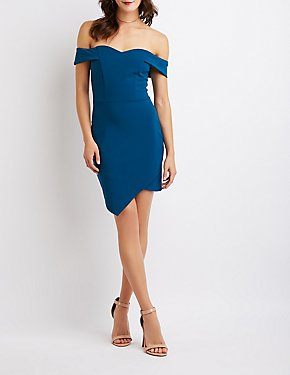 Off-The-Shoulder Asymmetrical Bodycon Dress