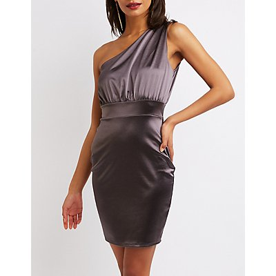 Satin One Shoulder Bodycon Dress