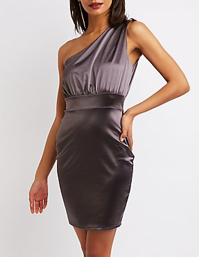 Satin One Shoulder Bodycon Dress