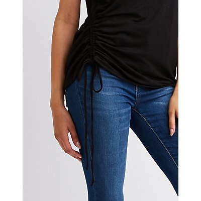 Crew Neck Ruched Top