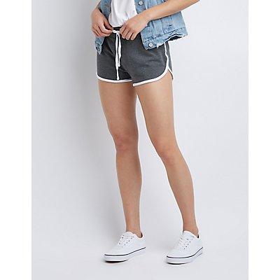 Drawstring Dolphin Hem Shorts
