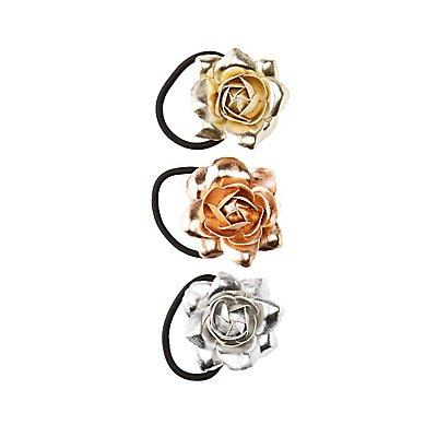 Metallic Floral Hair Ties - 3 Pack
