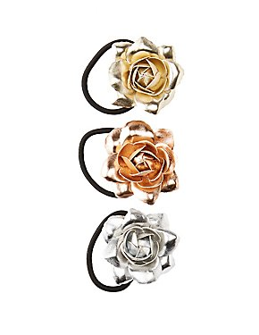 Metallic Floral Hair Ties - 3 Pack