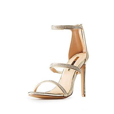 Crystal Embellished Ankle Strap Dress Sandals