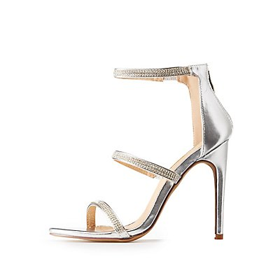 Crystal Embellished Ankle Strap Dress Sandals